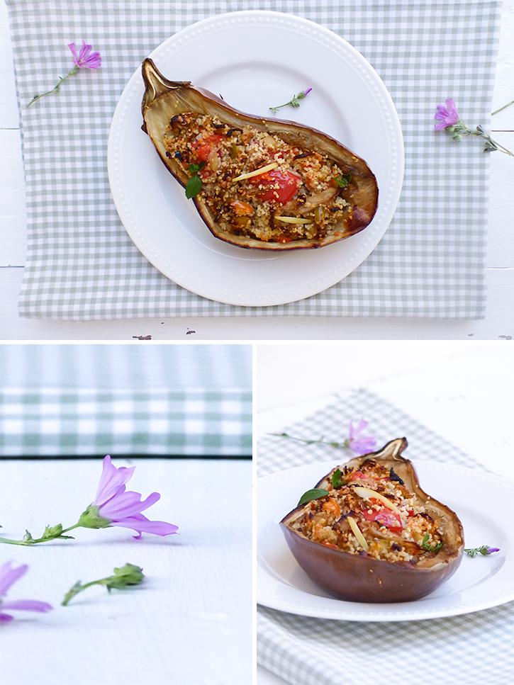 Aubergines farcies au millet et légumes