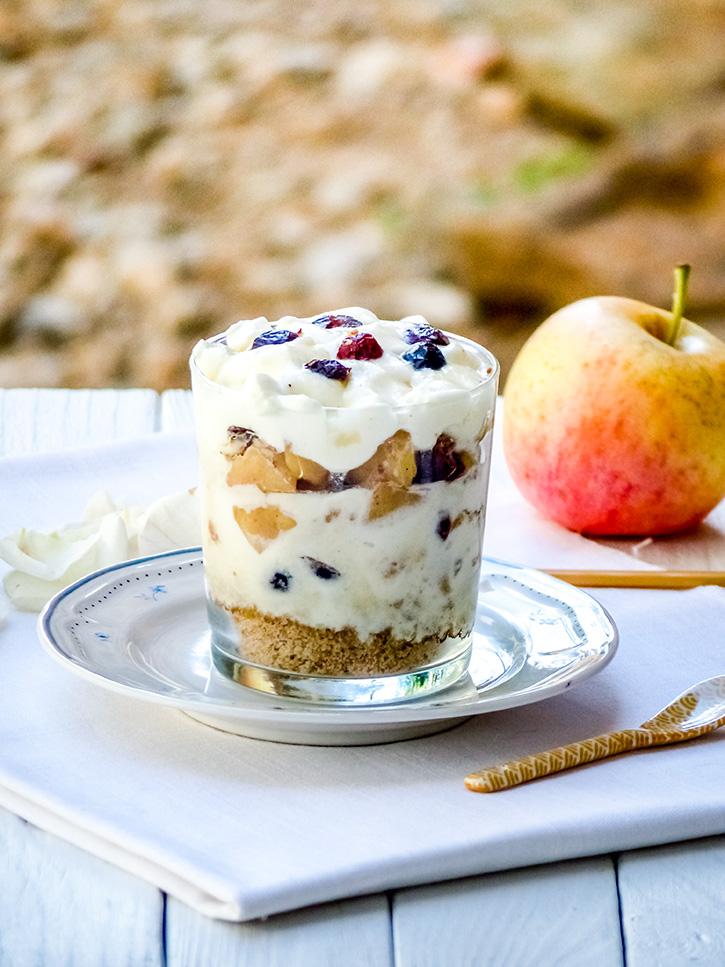 Trifle aux pommes, cranberries et caramel