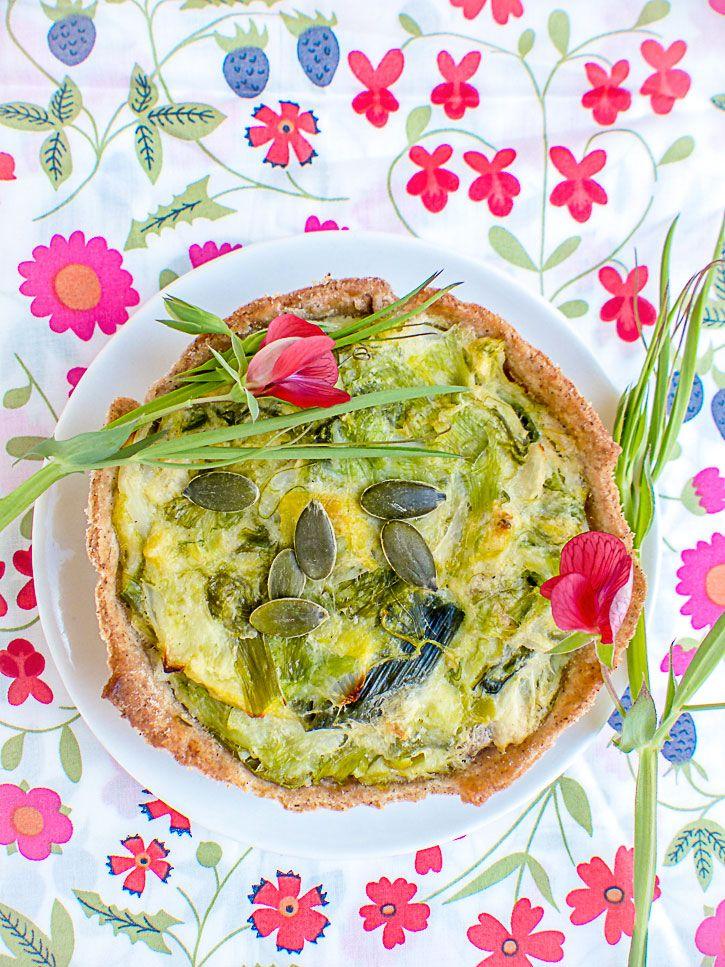 Tarte aux poireaux sauvages vegan et sans gluten - Tarte aux poireaux sans oeufs ...