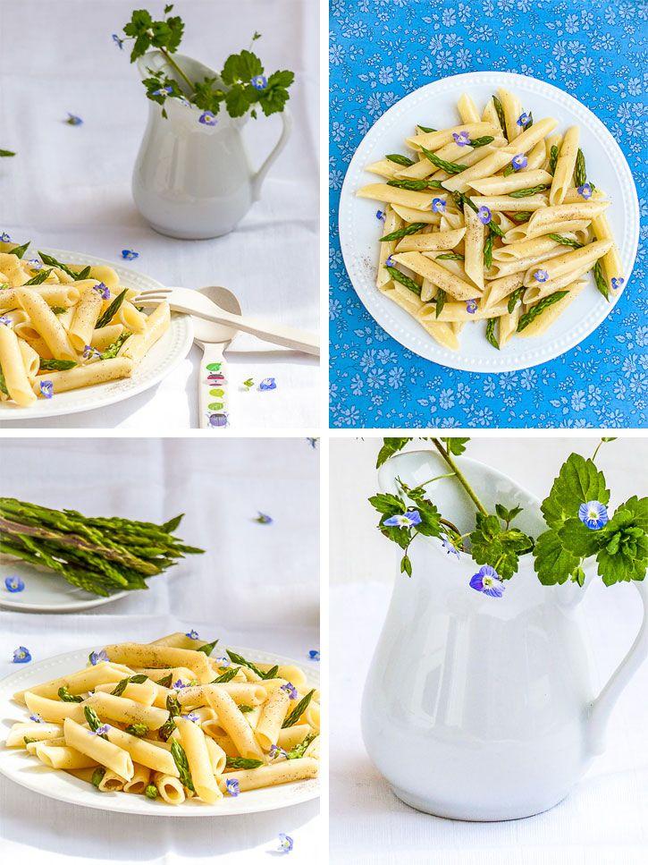 pates asperges sauvages et fleurs de véronique